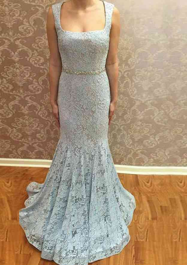 Trumpet/Mermaid Square Neckline Sleeveless Sweep Train Lace Prom Dress With Beading