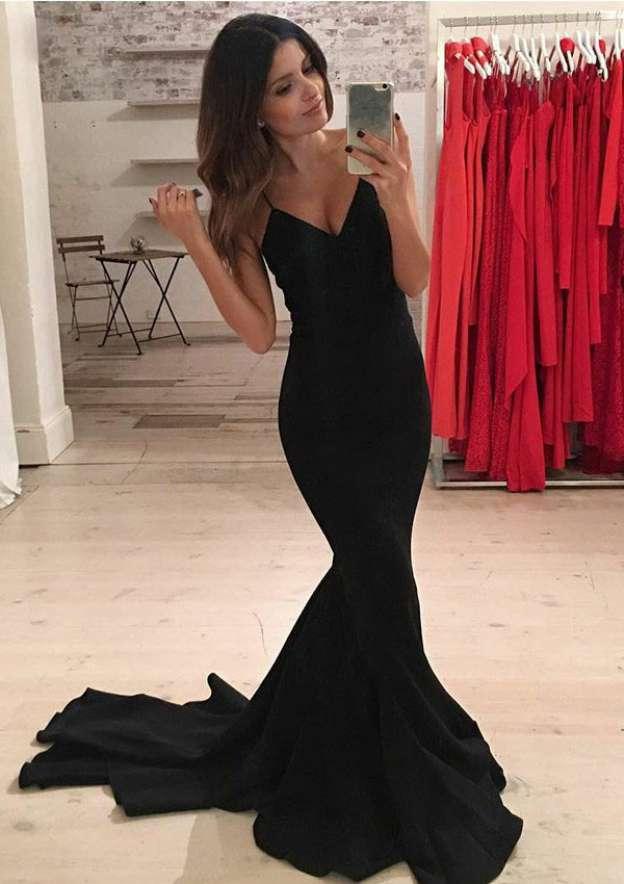 Trumpet/Mermaid V Neck Sleeveless Court Train Elastic Satin Prom Dress