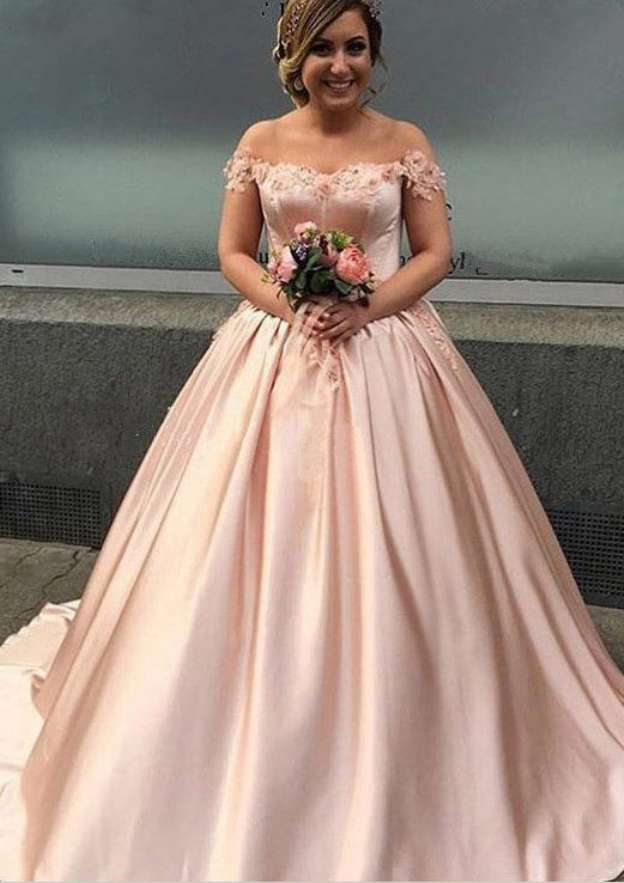 Ball Gown Off-The-Shoulder Sleeveless Court Train Satin Wedding Dress With Appliqued Beading