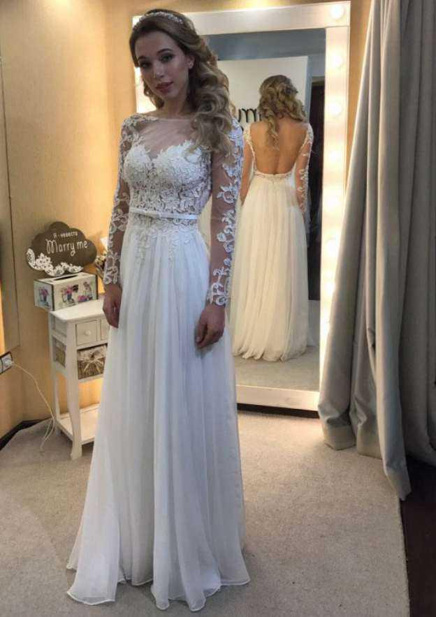 A-Line/Princess Bateau Full/Long Sleeve Long/Floor-Length Chiffon Wedding Dress With Appliqued Lace Waistband