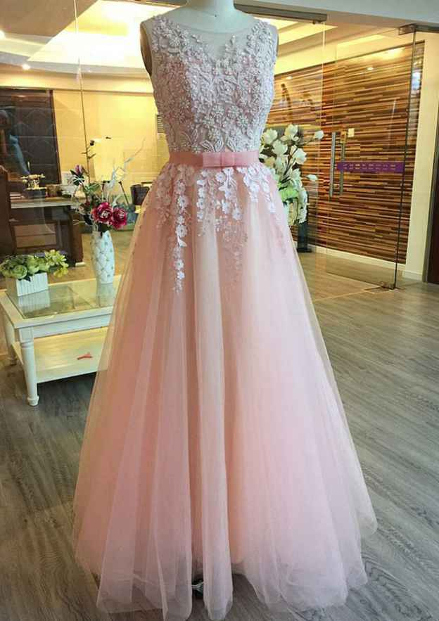 A-Line/Princess Bateau Sleeveless Long/Floor-Length Tulle Prom Dresses With Waistband Appliqued Beading