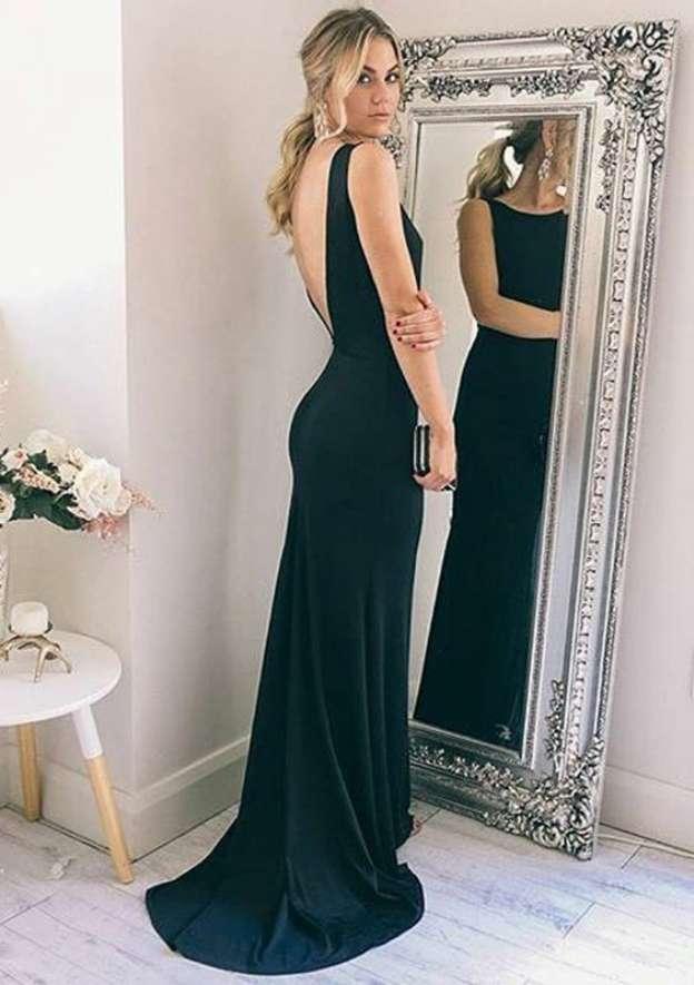 Sheath/Column Bateau Sleeveless Sweep Train Elastic Satin Prom Dress