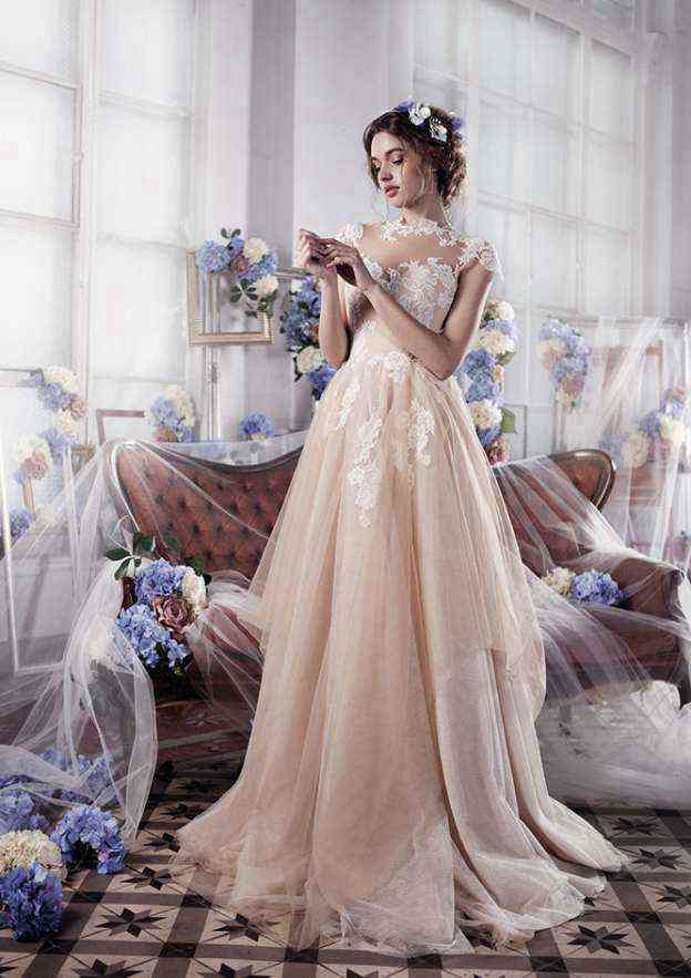 A-Line/Princess High-Neck Sleeveless Sweep Train Tulle Wedding Dress With Appliqued