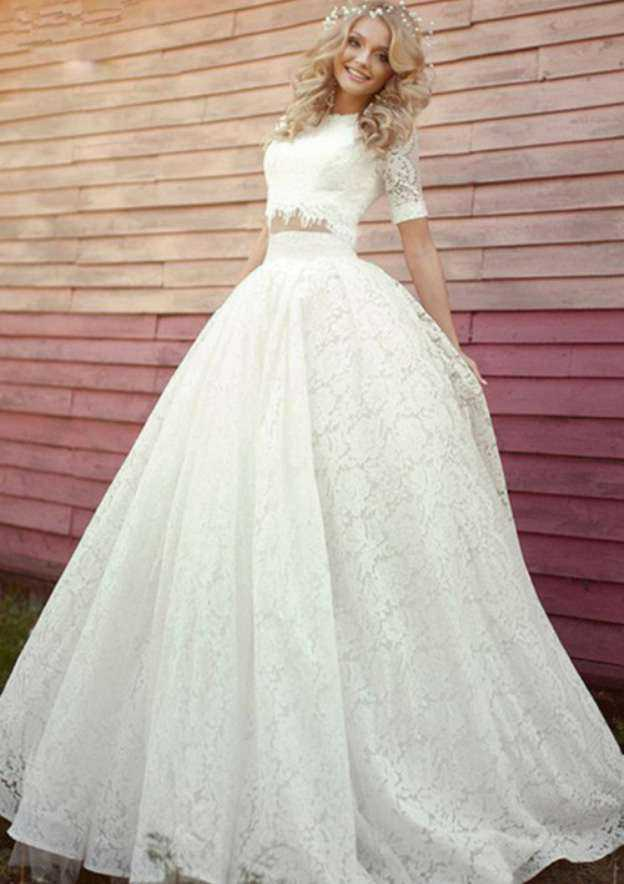 Ball Gown Bateau Short Sleeve Sweep Train Lace Wedding Dress With Appliqued