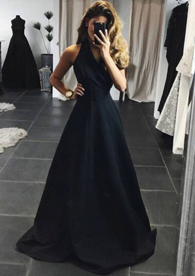 A-Line/Princess V Neck Sleeveless Sweep Train Elastic Satin Prom Dress With Waistband
