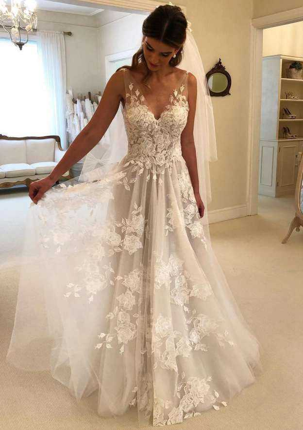 A-Line/Princess V Neck Sleeveless Sweep Train Tulle Wedding Dress With Appliqued
