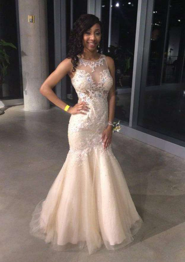 Trumpet/Mermaid Scoop Neck Sleeveless Long/Floor-Length Tulle Prom Dress With Lace