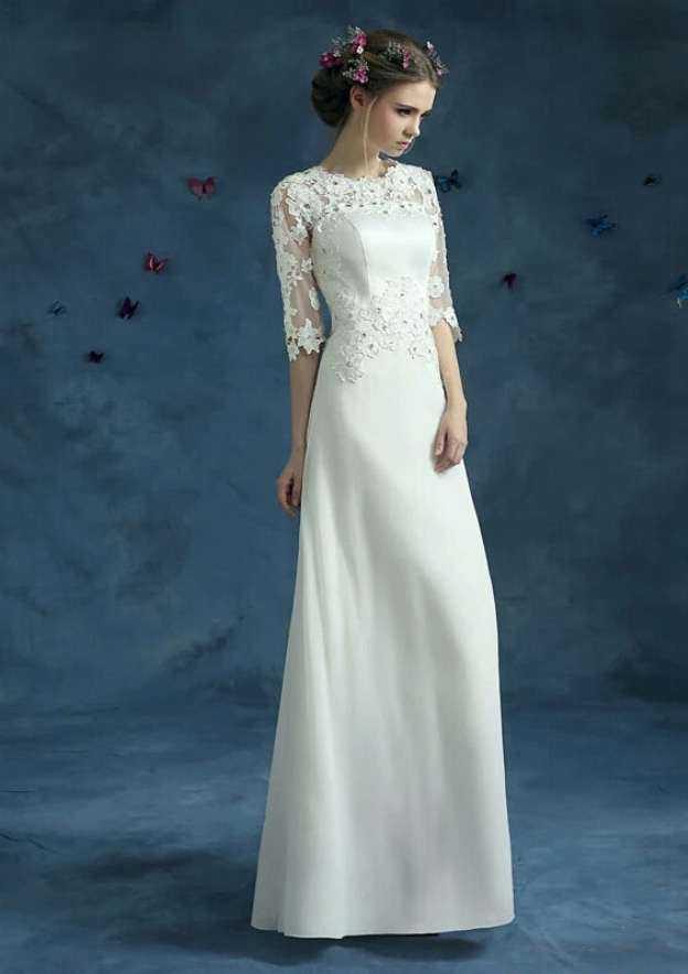 A-Line/Princess Bateau Half Sleeve Long/Floor-Length Chiffon Wedding Dress With Appliqued Crystal