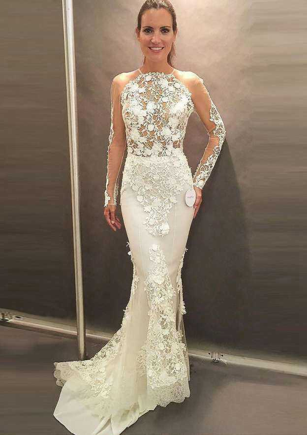 Trumpet/Mermaid Scoop Neck Full/Long Sleeve Sweep Train Lace Wedding Dress With Appliqued Lace