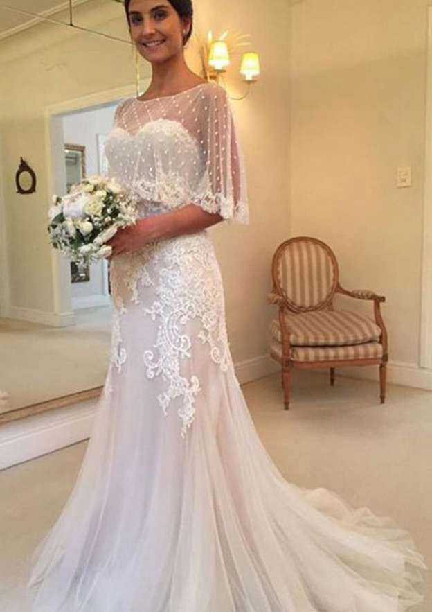 Sheath/Column Sweetheart Sleeveless Sweep Train Tulle Wedding Dress With Lace