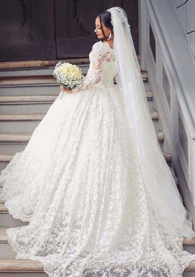 Ball Gown Scalloped Neck Full/Long Sleeve Court Train Lace Wedding Dress With Appliqued