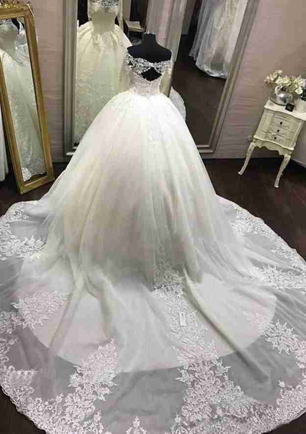 Ball Gown Off-The-Shoulder Full/Long Sleeve Cathedral Train Tulle Wedding Dress With Appliqued