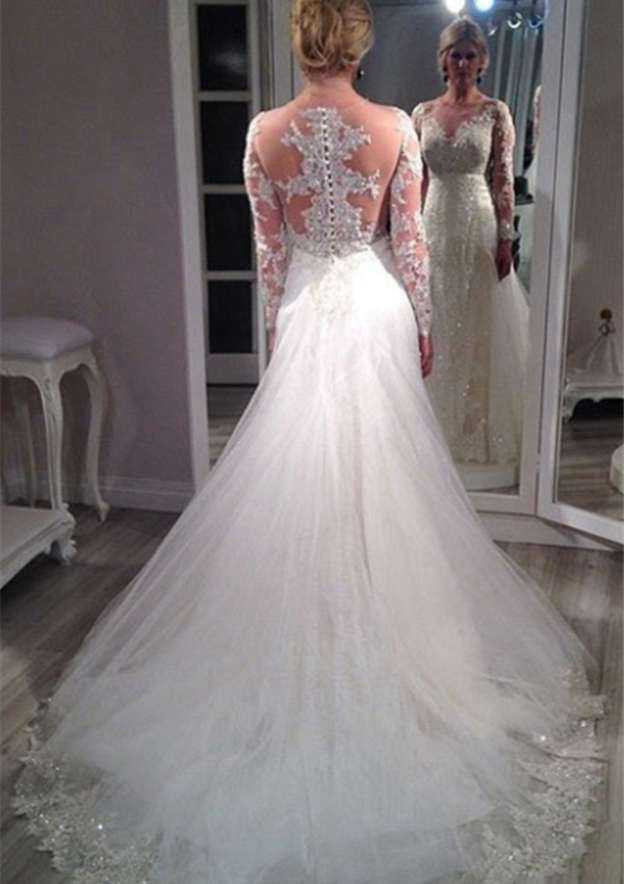 Sheath/Column Bateau Full/Long Sleeve Chapel Train Tulle Wedding Dress With Appliqued Beading