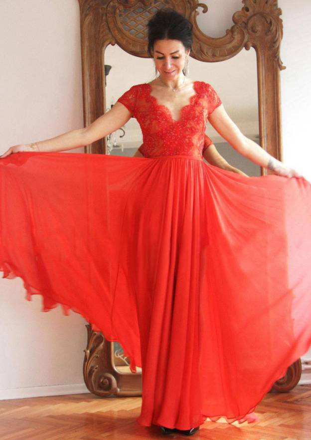 A-Line/Princess V Neck Short Sleeve Long/Floor-Length Chiffon Prom Dress With Beading Lace