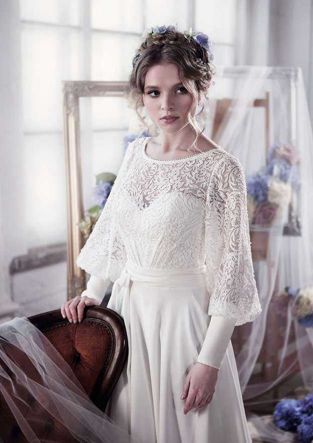 A-Line/Princess Bateau Full/Long Sleeve Sweep Train Chiffon Wedding Dress With Lace Sashes
