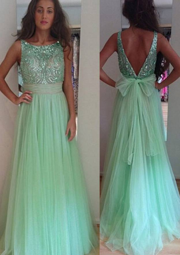 A-Line/Princess Bateau Sleeveless Long/Floor-Length Tulle Prom Dress With Crystal Detailing Sashes