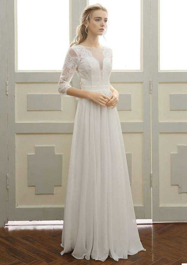 A-Line/Princess Bateau 3/4 Sleeve Long/Floor-Length Chiffon Wedding Dress With Appliqued Lace Sashes