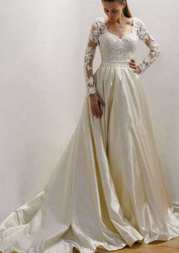 A-Line/Princess Sweetheart Full/Long Sleeve Court Train Satin Wedding Dress With Lace