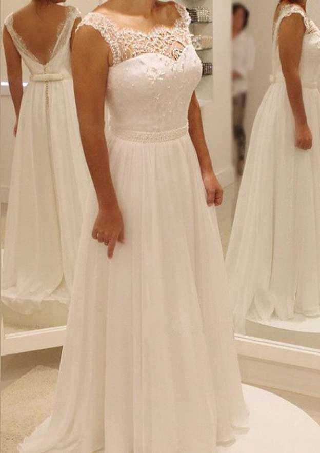 A-Line/Princess Scalloped Neck Sleeveless Sweep Train Chiffon Wedding Dress With Beading Bowknot Lace Waistband