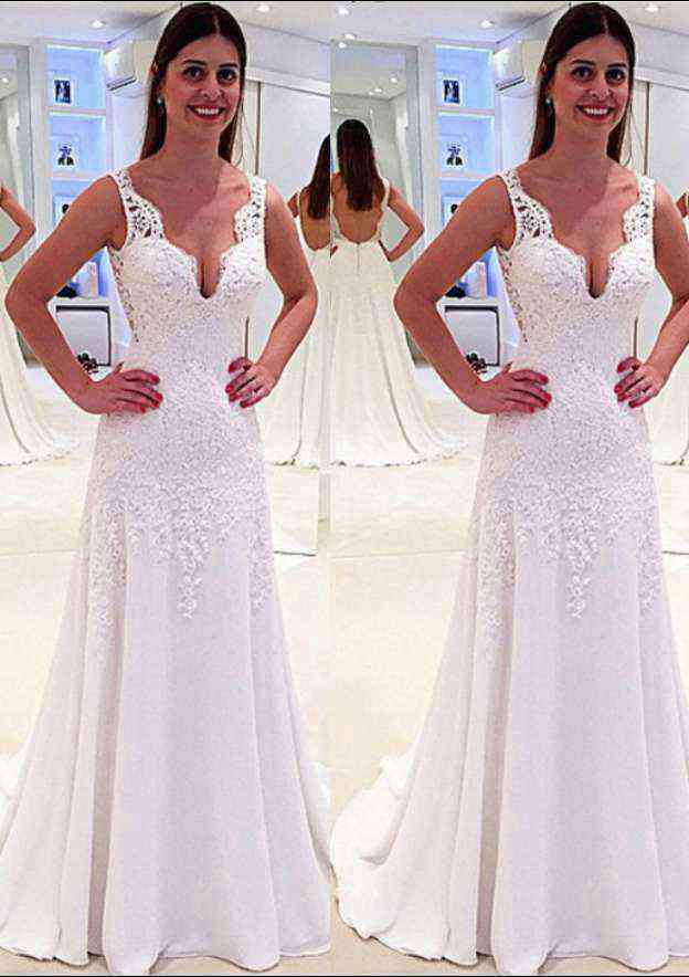 A-Line/Princess Scalloped Neck Sleeveless Sweep Train Chiffon Wedding Dress With Lace