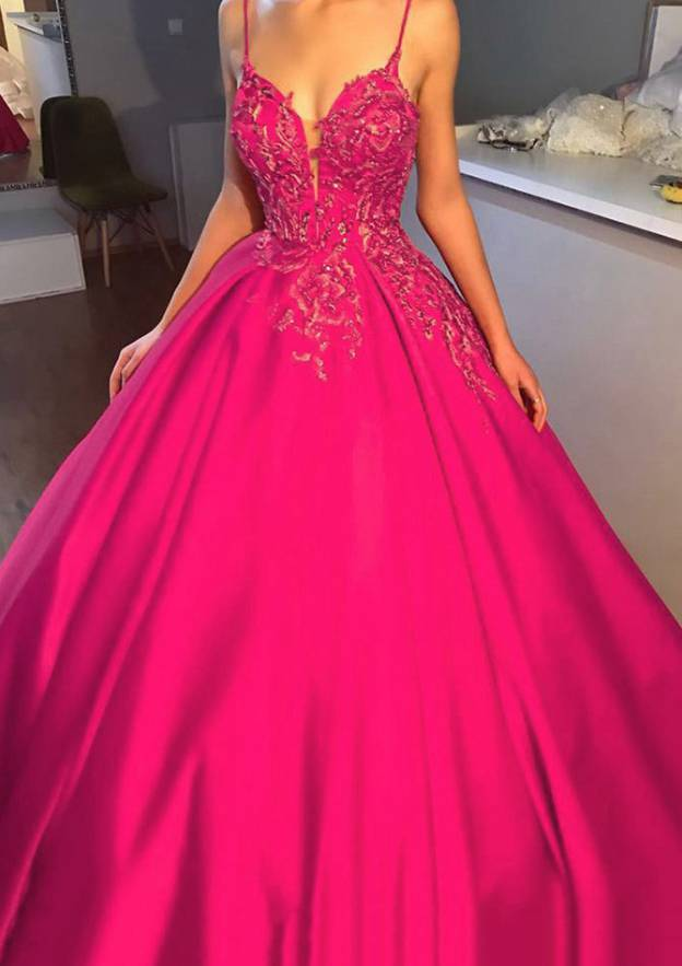 Ball Gown Sweetheart Sleeveless Chapel Train Satin Prom Dress With Lace Beading