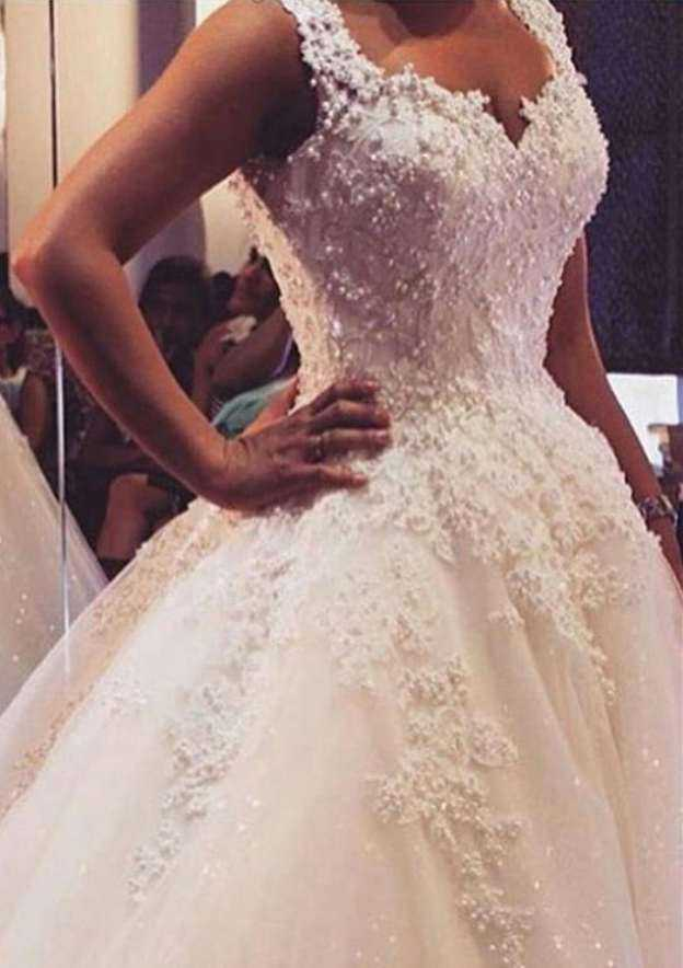 Ball Gown Sweetheart Sleeveless Long/Floor-Length Tulle Wedding Dress With Appliqued Beading Lace