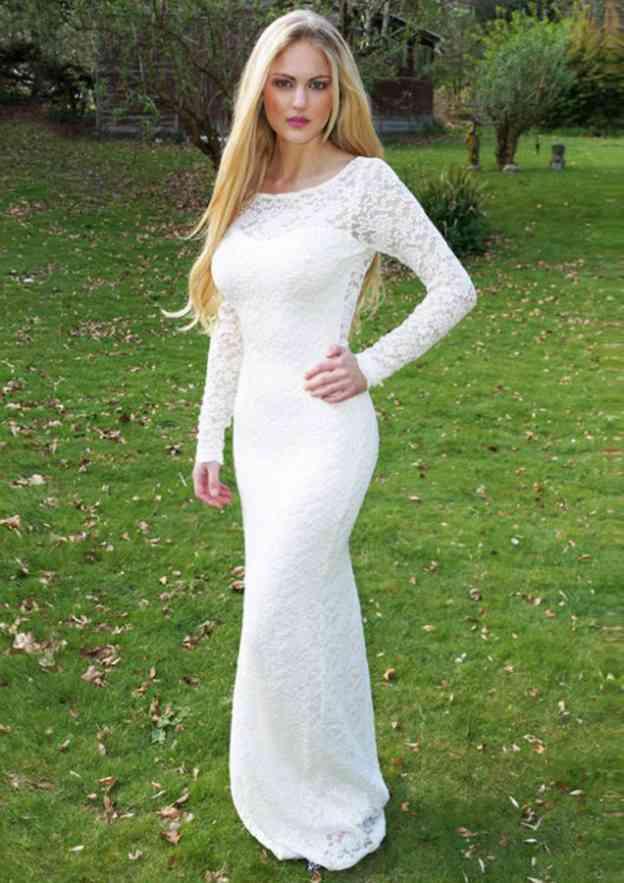 Trumpet/Mermaid Bateau Full/Long Sleeve Long/Floor-Length Lace Prom Dress