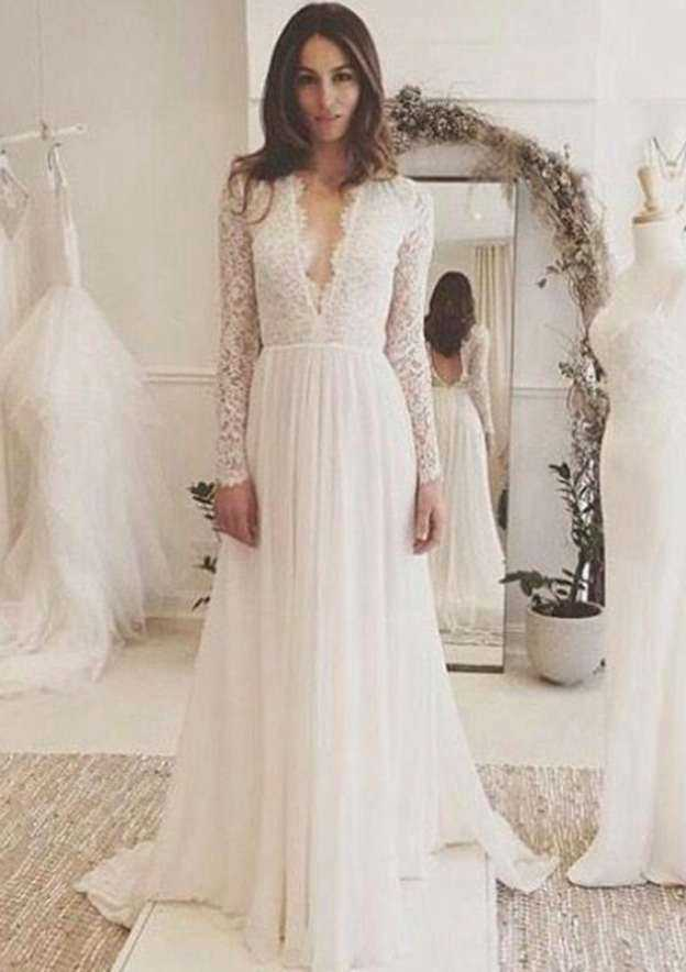A-Line/Princess Scalloped Neck Full/Long Sleeve Court Train Chiffon Wedding Dress With Lace