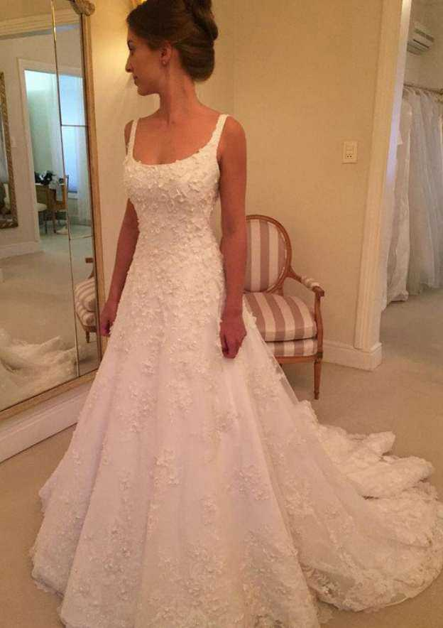 A-Line/Princess Square Neckline Sleeveless Court Train Lace Wedding Dress With Appliqued Beading