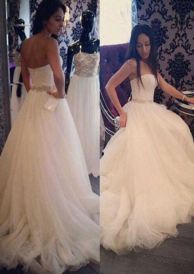 A-Line/Princess Strapless Sleeveless Court Train Tulle Wedding Dress With Beading