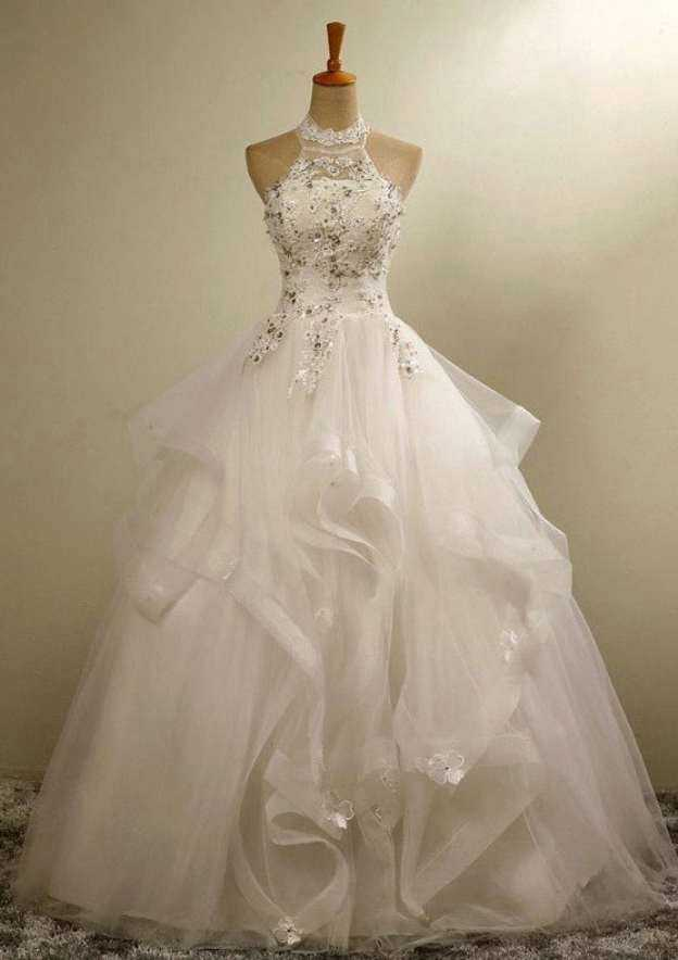Ball Gown Halter Sleeveless Long/Floor-Length Organza Wedding Dress With Appliqued Crystal Flowers
