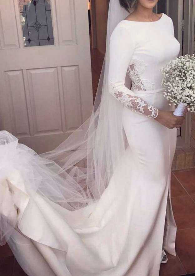 Trumpet/Mermaid Bateau Full/Long Sleeve Court Train Elastic Satin Wedding Dress With Lace