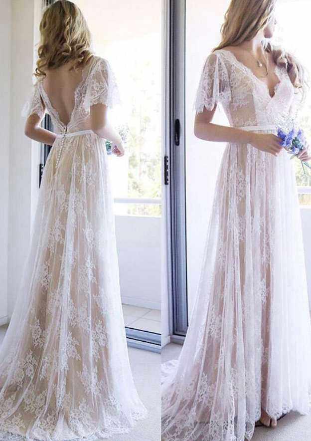 A-Line/Princess V Neck Short Sleeve Sweep Train Lace Wedding Dress With Appliqued Waistband