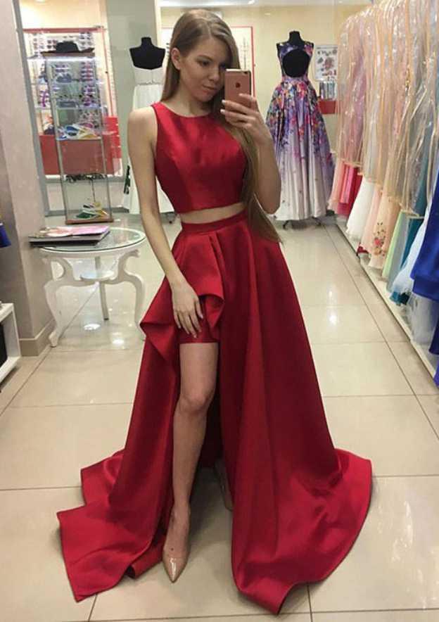 A-Line/Princess Scoop Neck Sleeveless Asymmetrical Satin Prom Dress With Split