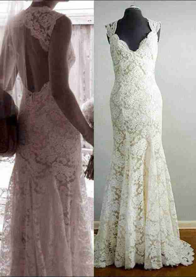 Sheath/Column Scalloped Neck Sleeveless Sweep Train Lace Wedding Dress With Appliqued