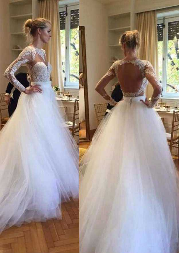 Ball Gown Bateau Full/Long Sleeve Court Train Tulle Wedding Dress With Appliqued Lace