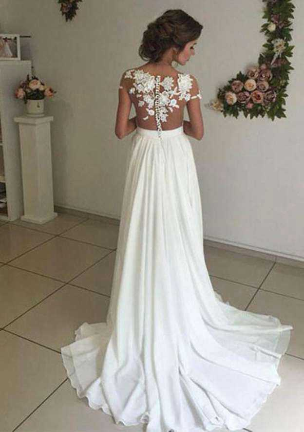 A-Line/Princess Bateau Sleeveless Court Train Chiffon Wedding Dress With Appliqued