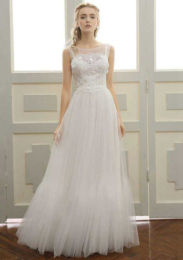 A-Line/Princess Bateau Sleeveless Long/Floor-Length Tulle Wedding Dress With Appliqued Lace Waistband