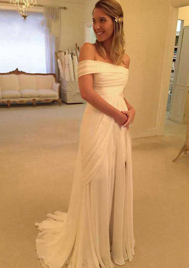 A-Line/Princess Off-The-Shoulder Sleeveless Watteau Train Chiffon Wedding Dress With Lace Pleated Split