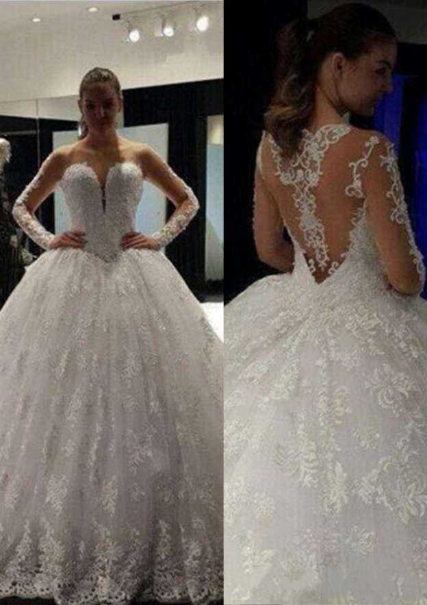 Ball Gown Bateau Full/Long Sleeve Sweep Train Lace Wedding Dress With Appliqued