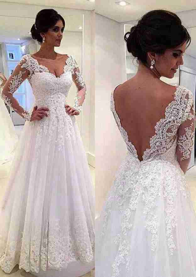 A-Line/Princess V Neck Full/Long Sleeve Sweep Train Tulle Wedding Dress With Appliqued Lace