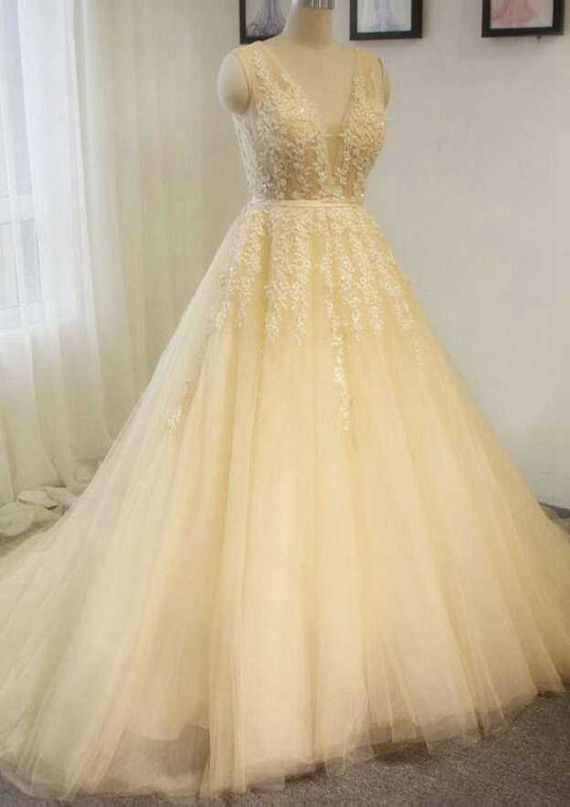 Ball Gown V Neck Sleeveless Court Train Tulle Wedding Dress With Appliqued Beading Sashes