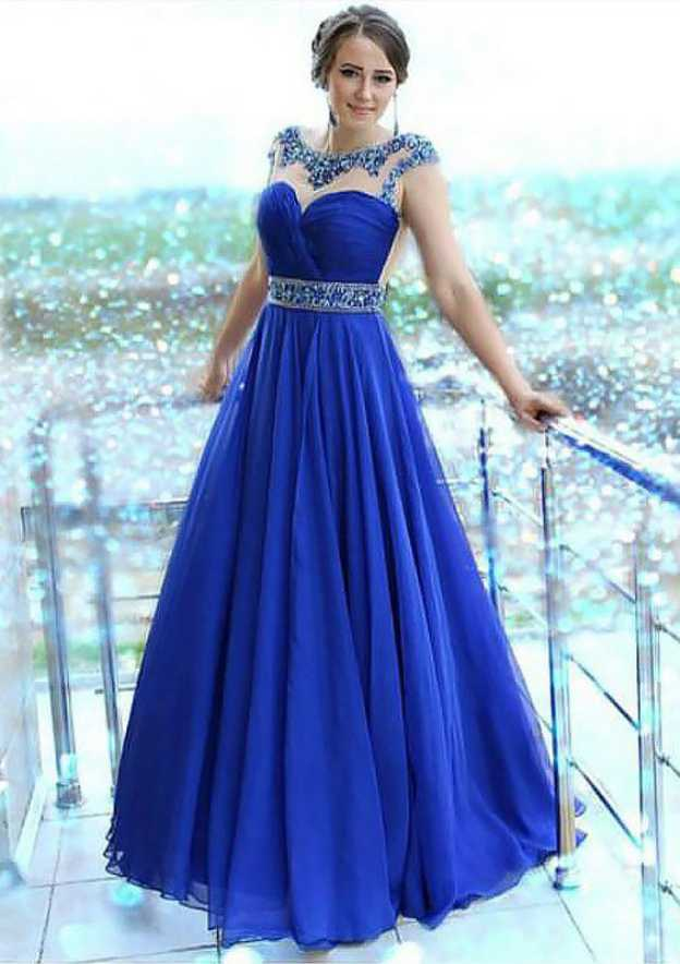 A-Line/Princess Bateau Sleeveless Long/Floor-Length Chiffon Prom Dress With Beading