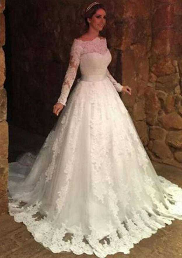 Ball Gown Off-The-Shoulder Full/Long Sleeve Court Train Lace Wedding Dress With Appliqued Bowknot Sashes