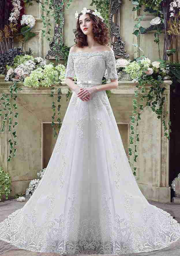 A-Line/Princess Off-The-Shoulder Half Sleeve Chapel Train Lace Wedding Dress With Appliqued Bowknot Waistband