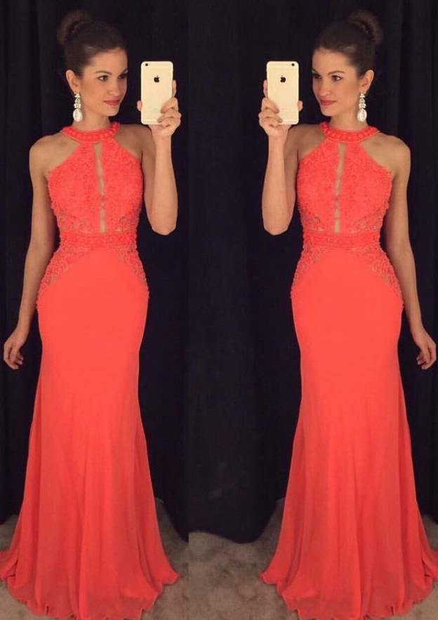 Sheath/Column Scoop Neck Sleeveless Long/Floor-Length Chiffon Prom Dress With Lace