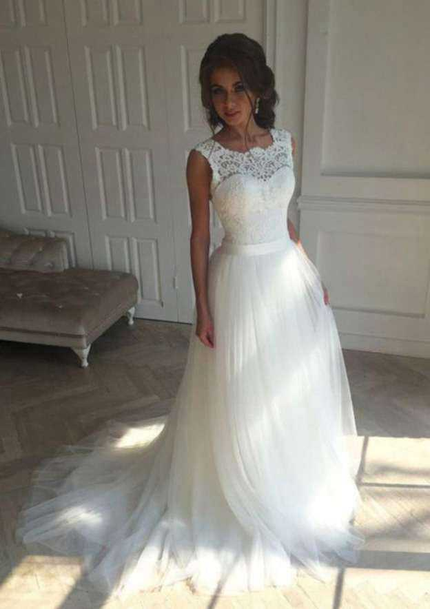 A-Line/Princess Scalloped Neck Sleeveless Court Train Tulle Wedding Dress With Lace