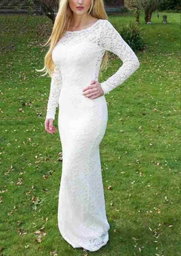 Sheath/Column Bateau Full/Long Sleeve Long/Floor-Length Lace Wedding Dress