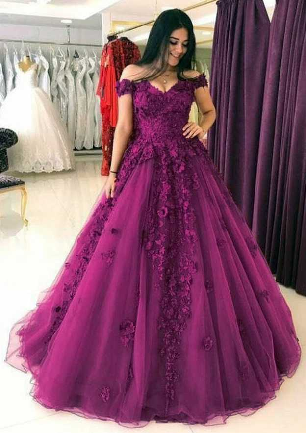 Ball Gown Off-The-Shoulder Sleeveless Long/Floor-Length Lace Prom Dress With Appliqued Flowers