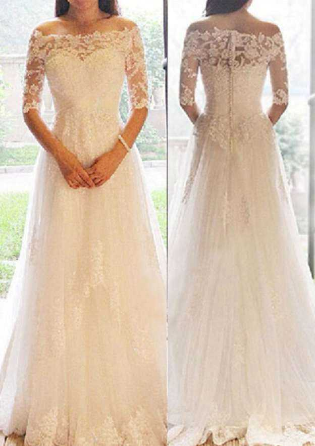 A-Line/Princess Off-The-Shoulder Half Sleeve Sweep Train Tulle Wedding Dress With Appliqued Beading Lace